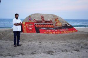 Sand Artist Padm Shri. Sudarsan Pattnaik with the sand art
